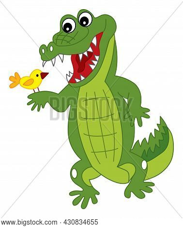 Cute Cartoon Green Crocodile With The Bird. Vector Crocodile. Alligator Vector Illustration