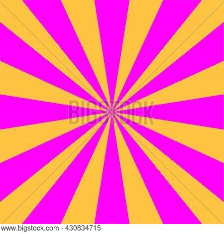 Yellow And Purple Sunburst Background. Retro Style 80s. Pop Art Poster. Sunbeam Beams. Vector Banner