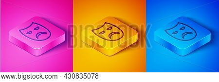 Isometric Line Drama Theatrical Mask Icon Isolated On Pink And Orange, Blue Background. Square Butto