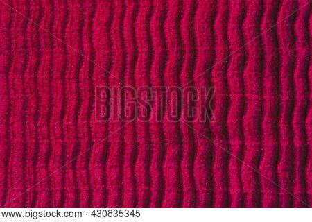 Beautiful Dark Pink Cloth Fabric Background. Fuchsia Pink Color Vertical Lined Soft Fabric Textile B