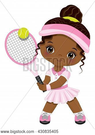 Cute Little African American Girl Wearing Pink And White Sport Outfit Playing Tennis. Little Black G