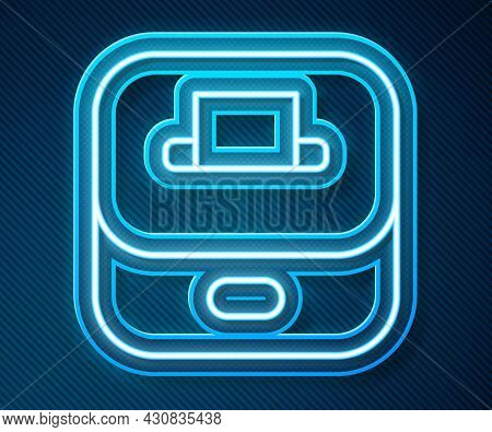 Glowing Neon Line Vote Box Or Ballot Box With Envelope Icon Isolated On Blue Background. Vector