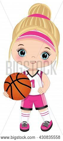 Cute Little Girl Wearing Pink And White Sport Outfit Playing Basketball. Little Girl Is Blond With B