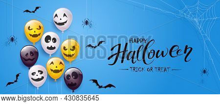 Spider On Spiderweb, Bats And Set Of Orange, White, Black Balloons With Scary Smiles Isolated On Blu