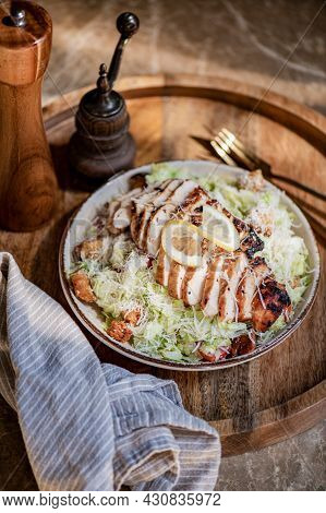 Classic Roasted Chicken Caesar Salad Bowl With Croutons And Parmesan
