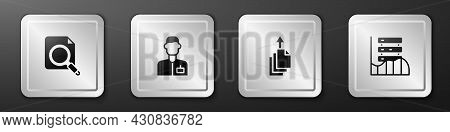 Set Search Concept With Folder, Analyst Engineer, Data Export And Server, Data, Web Hosting Icon. Si