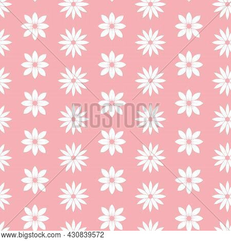 Pink And White Flower Stripes Seamless Repeating Pattern. Beautiful Vector Design Perfect For Fabric