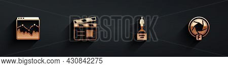 Set Music Wave Equalizer, Movie Clapper, Trophy And Camera Shutter Icon With Long Shadow. Vector