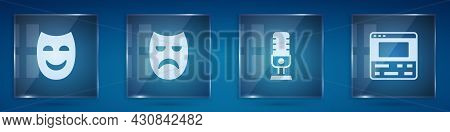 Set Comedy Theatrical Mask, Drama, Microphone And Video Recorder Laptop. Square Glass Panels. Vector
