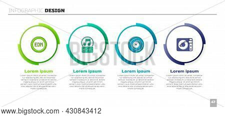 Set Edm Electronic Dance Music, Music Note, Tone, Vinyl Disk And Player With Vinyl. Business Infogra