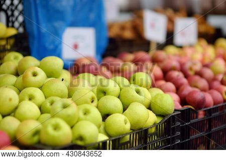 Fresh Healthy Bio Red And Green Apples On Street Farmer Market. Typical Local Agricultural Fair Of W