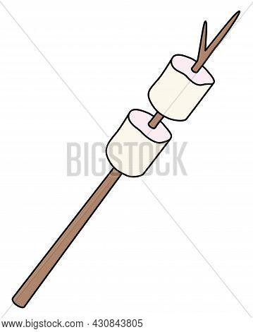 Marshmallows - Vector Full Color Illustration. Marshmallow - Sweet Fried Marshmallow On A Stick.
