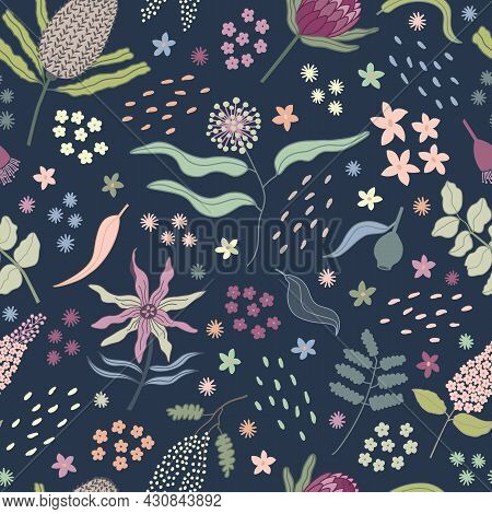 Bright, Multi Color Australian Native Flower Bouquet Seamless Repeating Pattern. Beautiful Vector De