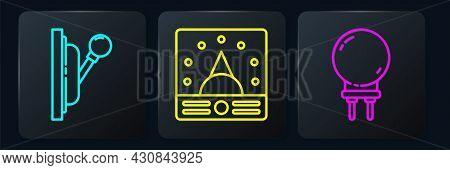 Set Line Electrical Panel, Light Emitting Diode And Ampere Meter, Multimeter, Voltmeter. Black Squar
