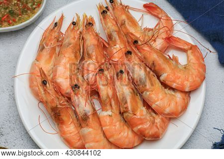 Fresh Boiled Big Sea Shrimps (prawns) With Spicy Seafood Sauce And Rice. Healthy Food. Cooked Steame