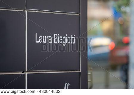 Belgrade, Serbia - May 3, 2021: Laura Biagiotti Logo On Its Local Reseller In Belgrade. Laura Biagio