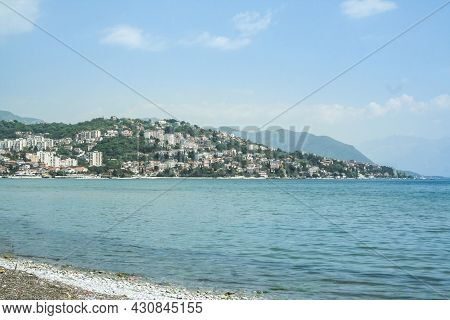 Panorama Of The Main Hill Of Herceg Novi, Seen From A Beach On The Igalo Resort, On The Adriatic Sea