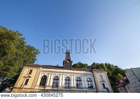 Main Facade Of The Ljubljana Puppet Theatre, Written On The Front In Slovenian (lutkovno Gledalisce