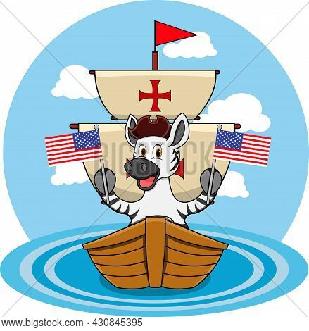 Happy Columbus Day America With Cute Zebra And Ship In Sea, Cartoon, Mascot, Animals, Character, Vec