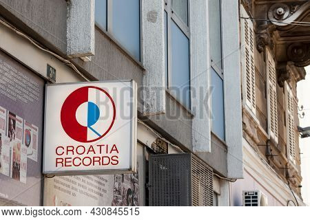 Rijeka, Croatia - June 18, 2021: Croatia Records Logo In Front Of Their Local Shop In Rijeka. Croati