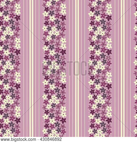 Pink, Yellow And Purple Flowers, Spots And Stripes Geometric Seamless Repeat Pattern. Beautiful Vect