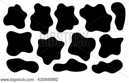 Set Of Random Irregular Asymmetric And Unique Shapes Black Spots. Popular Coloring Cow Spots. Vector