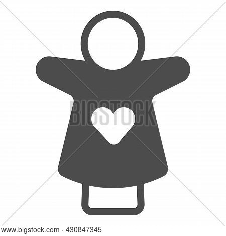 Puppet Doll With Heart On The Hand Solid Icon, Theater Concept, Puppet Theatre Vector Sign On White