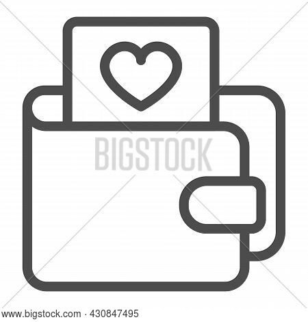 Wallet And Card With Heart Line Icon, Dating Concept, Purse With Picture Of Heart Vector Sign On Whi