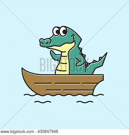 Crocodile Alligator Boat Ship Funny Cute Character Cartoon Mascot
