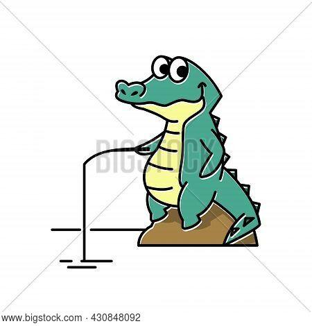Smiling Crocodile Alligator Fishing Funny Cute Character Cartoon Mascot