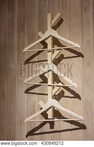 Interior Items - Wooden Coat Hangers. Hanger For Guests. Interior For A Cafe And Home. Hanger For Co