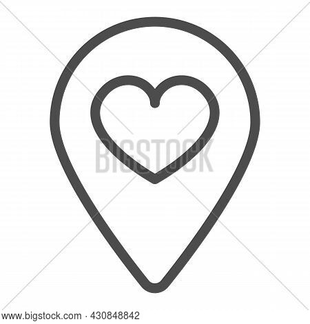 Location Map Pin With Heart Line Icon, Dating Concept, Favourite Place Vector Sign On White Backgrou