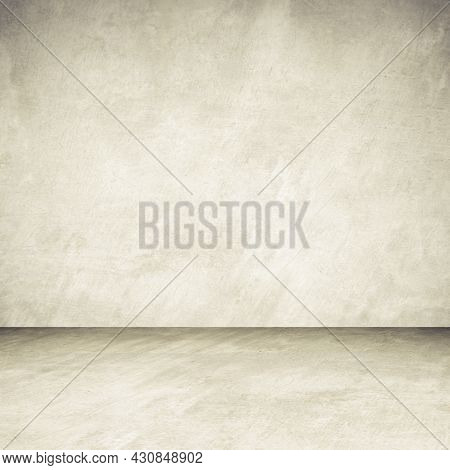 Empty Brown Concrete Room And Floor Background, Perspective Brown Gradient Concrete Room For Interio