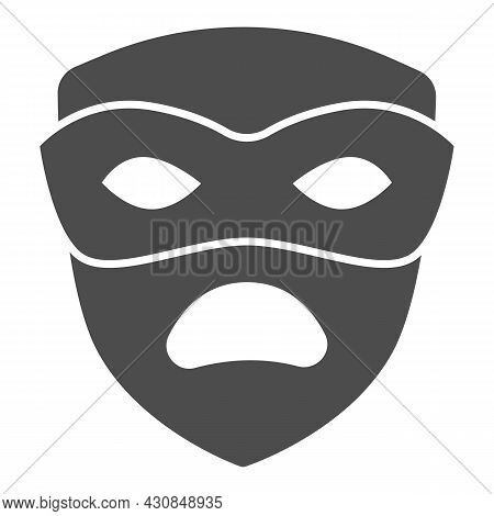 Carnival Mask, Tragedy Mask, Sad Face Solid Icon, Masquerade Concept, Drama Masque Vector Sign On Wh