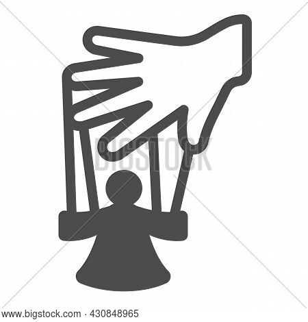 Hand Of The Puppeteer And Marionette Solid Icon, Theater Concept, Puppet Theatre Vector Sign On Whit