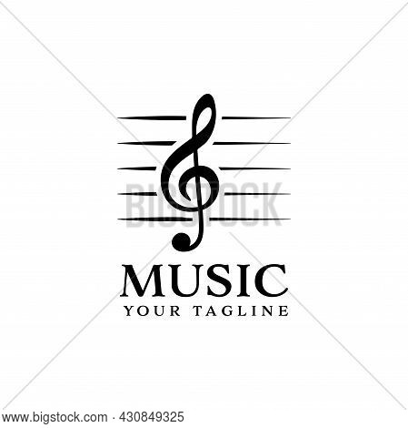 Simple G Clef Logo Isolated On White Background. Musical Clef G Icon Trendy And Modern Musical Notes