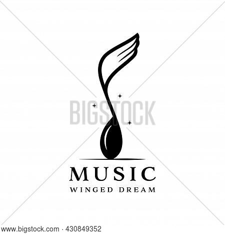 Winged Music Notation Logo Isolated On White Background. Combination Of Musical Notation And Wings.