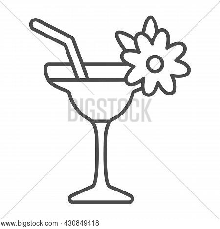 Margarita With Floral Decoration, Garnished Cocktail Thin Line Icon, Bar Concept, Daiquiri Vector Si