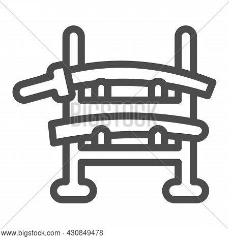 Wooden Samurai Sword Holder Katana Rack Line Icon, Asian Culture Concept, Sword Stand Vector Sign On