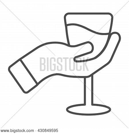 Hand With Glass Of Wine Thin Line Icon, Winery Concept, Wineglass In Hand Vector Sign On White Backg