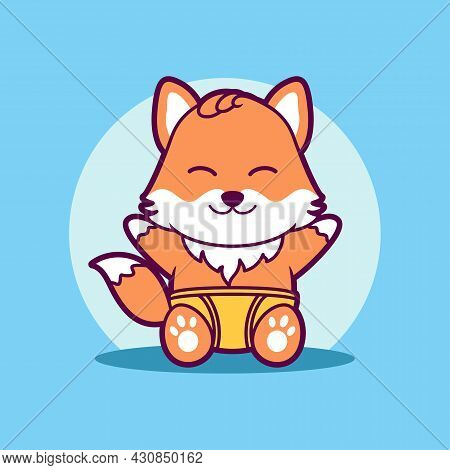 Cute Baby Fox Wearing Diapers Vector Illustration