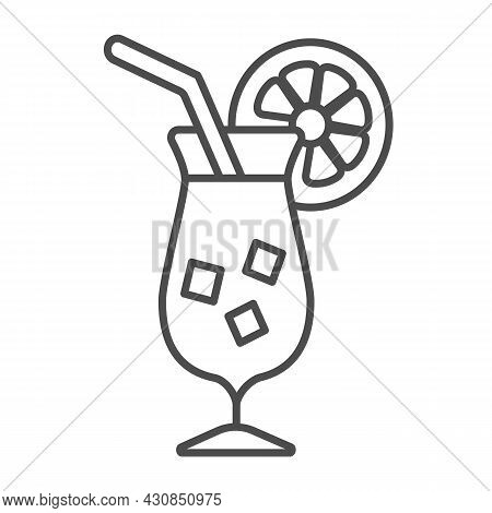 Cocktail Garnished With Orange Slice With Ice Thin Line Icon, Bar Concept, Tropical Drink Vector Sig