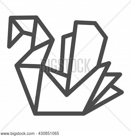 Paper Swan, Origami Line Icon, Asian Culture Concept, Folded Origami Bird Vector Sign On White Backg
