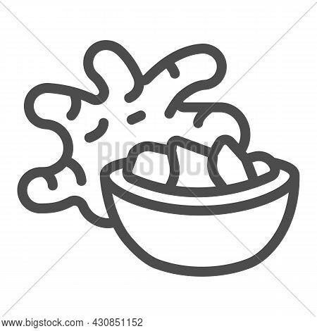 Jerusalem Artichoke Tuber And Ginger Bowl Line Icon, Asian Food Concept, Girasol Vector Sign On Whit
