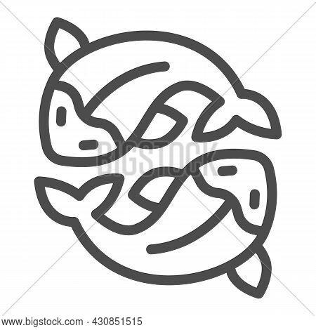 Two Salmon, Fresh Fish, Japanese Koi, Carp Line Icon, Asian Culture Concept, Goldfish Vector Sign On