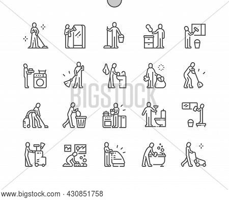Cleaning People. Service. Wash Window, Remove Trash, Wash Bathroom And Other. Pixel Perfect Vector T