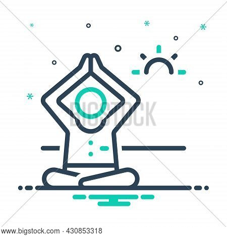 Mix Icon For Being Working-out Yoga Pose Meditate Health Fitness Aerobics