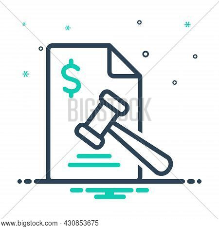 Mix Icon For Penalty Fine Chastisment Justice Amercement Damages Forfeiture Sanction