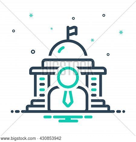 Mix Icon For Governor Government People Democracy Flag State Polity Embassy Building Capitol Courtho