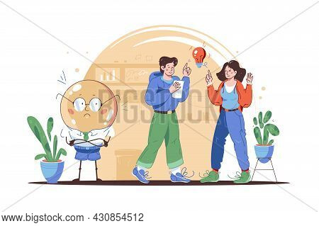 Male Character With Bright Idea Vector Illustration. Couple Discuss Vision Flat Style. Search For Ne